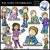 Big Kids Writing and Technology Clip Art