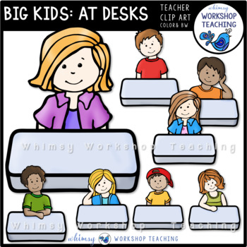 Big Kids at Desks Clip Art - Whimsy Workshop Teaching
