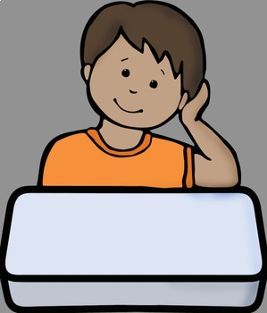Big Kids at Desks Clip Art