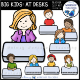 Big Kids at Desks Clip Art