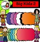 Big Kids 2 (with books and frames)- Color and black/white Clip art- 61 items!
