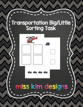 Transportation Big / Little Sorting Task for Early Childhood Special Education
