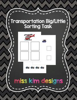 Transportation Big / Little Sorting Task for Early Childho