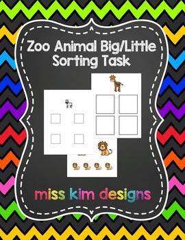 Zoo Animal Big / Little Sorting Task for Early Childhood S