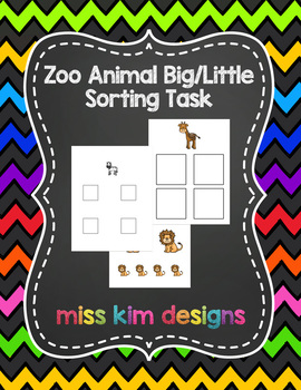 Big / Little Zoo Animal Sorting Task for students with Autism