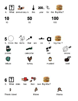 Big Mac - McDonalds picture supported text lesson questions visuals