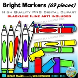 Bright Markers Clip Art for Personal and Commercial Use