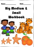 Big/large Medium and Small work pack sorting by size Pre-K