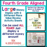 4th Grade Aligned Place Value Review Sheets w Large Money