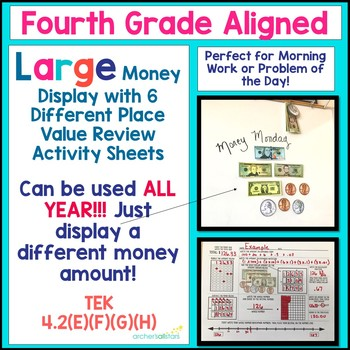 4th Grade Aligned Place Value Review Sheets w Large Money Display Printables