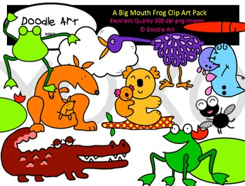Big Mouth Frog Clipart Pack