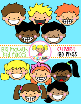 Big Mouth Kid Faces Clipart