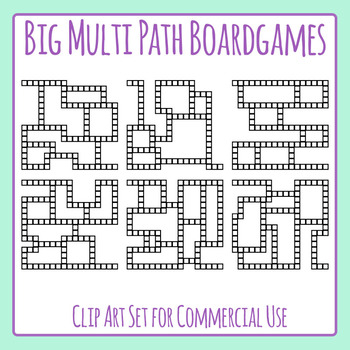Big Multi Path Board Game Templates Clip Art Set for Commercial Use