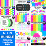 Big Neon Bundle! ~ Papers, Frames, Buntings & Alphas