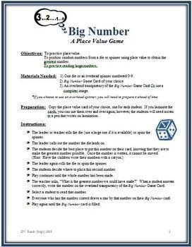 Big Number: A Place Value Math Game