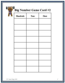 Big Number: A NO PREP Place Value Math Game for Whole Numbers and Decimals
