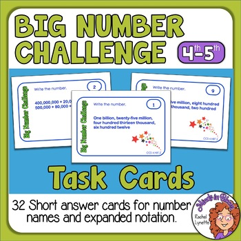Place Value Task Cards: 32 Short Answer Cards for CCSS 4.NBT.2