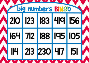 Numbers - Big Numbers Bingo - A Printable Game for Numeral Identification