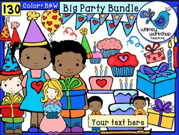 Big Party Bundle Clip Art (130 graphics) Whimsy Workshop Teaching