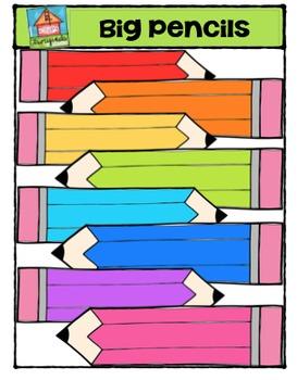 Big Pencil Kids {P4 Clips Trioriginals Digital CLip Art}