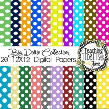 Digital Papers - Big Polka Dot Collection {12X12 for Personal or Commercial Use}