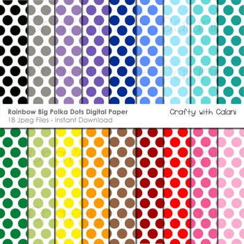 Big Polka Dots in Rainbow Colors Digital Paper Set