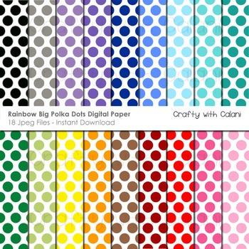Big Polka Dots in Rainbow Colors Digital Paper Set