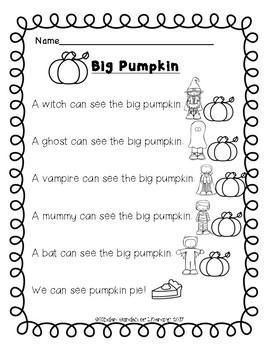 Big Pumpkin-Reading Sheet