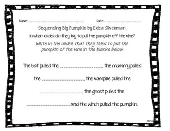Big Pumpkin Sequencing Graphic Organizers
