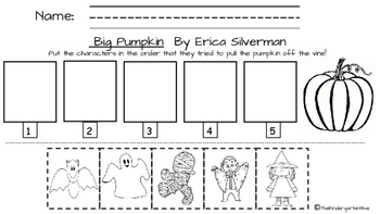 Big Pumpkin by Erica Silverman character sequence worksheet