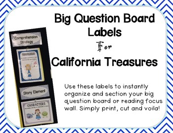 Big Question Board Labels For California Treasures BLUE