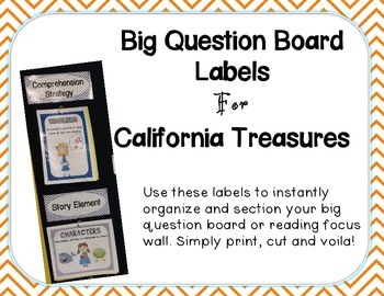 Big Question Board Labels For California Treasures ORANGE