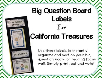 Big Question Board Labels For California Treasures GREEN