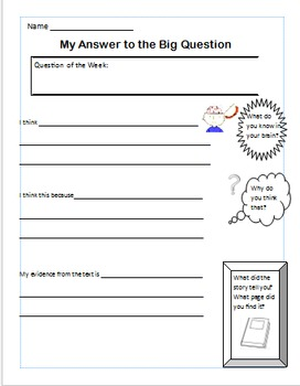 Big Question Scaffold Template - Close Reading