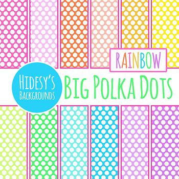 Big Rainbow Polka Dots / Spots Backgrounds / Patterns / Digital Paper Clip Art