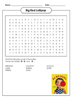 Big Red Lollipop Word Search