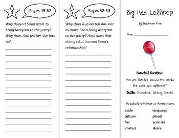 Big Red Lollipop Trifold - Wonders 2nd Grade Unit 1 Week 2