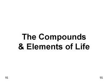 Big Science 1  Matter  13  The Compounds & Elements of Life