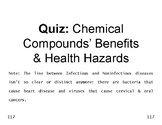 Matter  18  Rapid m.c. QUIZ on Benefits & Health Hazards of Chemical Compounds