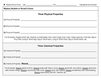Big Science 4  Props & Changes  04  Mystery Person Physical & Chem Properties