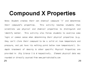 Big Science 4  Props & Changes  05  Compound X Physical &