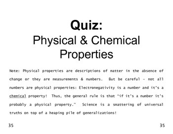 Big Science 4  Props & Changes  06  Physical & Chemical Properties QUIZ