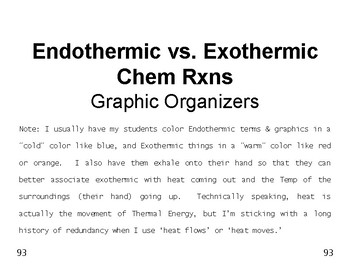 Big Science 4  Props & Changes  15 Endothermic vs. Exothermic Graphic Organizers