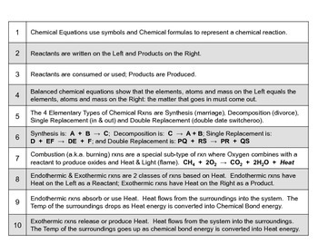 Big Science 4  Props & Changes  18  Chemical Equations & Chem Reactions Top 10