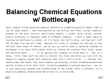 Big Science 4  Props & Changes  31  Balancing Chemical Equations with Bottlecaps