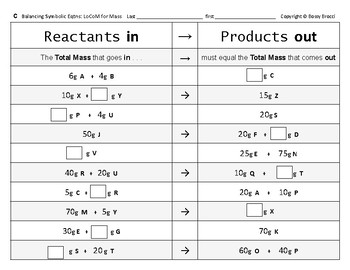 Big Science 4  Props & Changes  34  Balancing symbolic Chemical Equations (mass)