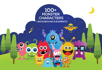 Big Set Monster Character Cliparts