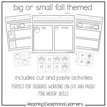 Math Worksheets- Big or Small- Fall Themed- Special Education