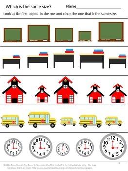 Sorting:Big-Small, Short-Tall and More NO PREP Math Center Worksheets