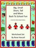 Distance Learning Sorting:Big-Small, Short-Tall   Math Center Worksheets PreK, K
